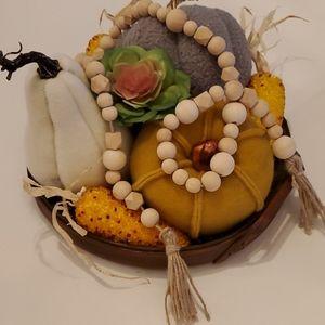 Natural wood bead garland